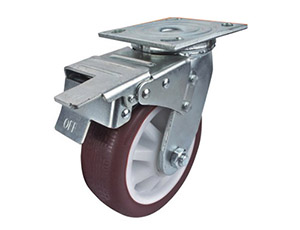 活动双刹防滑胎纹聚氨酯脚轮