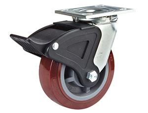 尼龙双刹PU聚氨酯脚轮