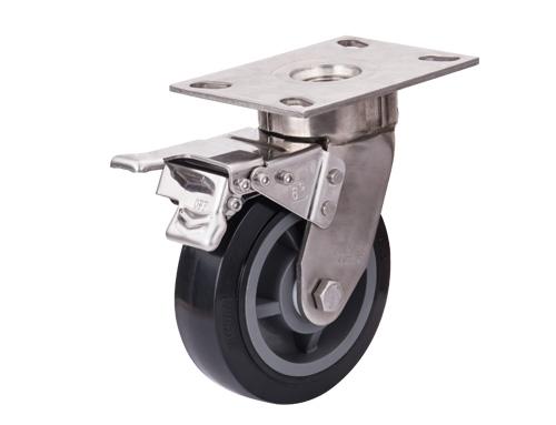 不锈钢6寸改性PU脚轮