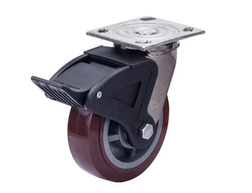 不锈钢重型聚氨酯脚轮带尼龙双刹
