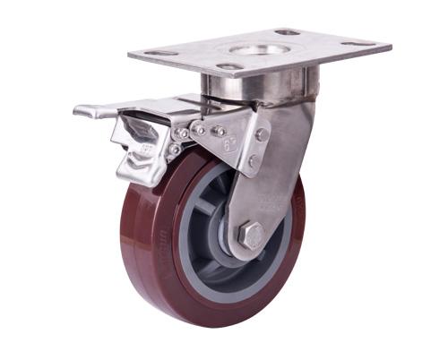 重型6寸不锈钢抗冲击聚氨酯万向脚轮