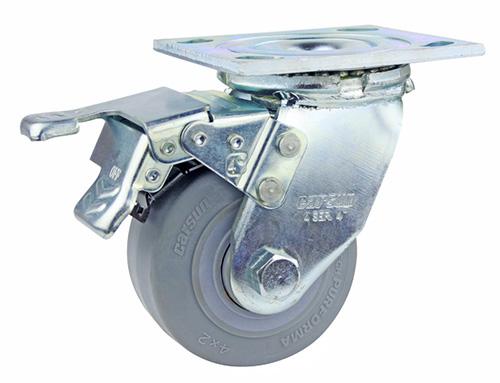 4寸带刹车重型tpr轮