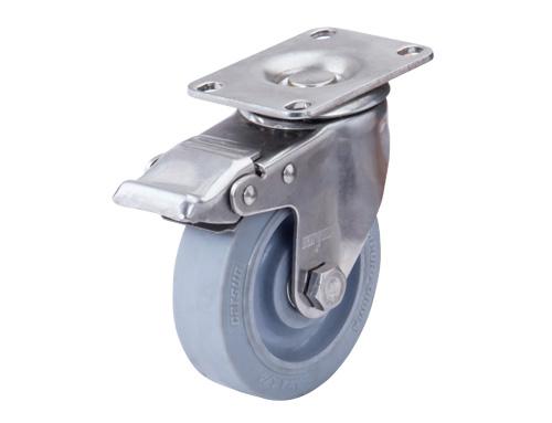 不锈钢带刹车人造胶脚轮