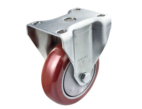 4寸定向红色聚氨酯脚轮
