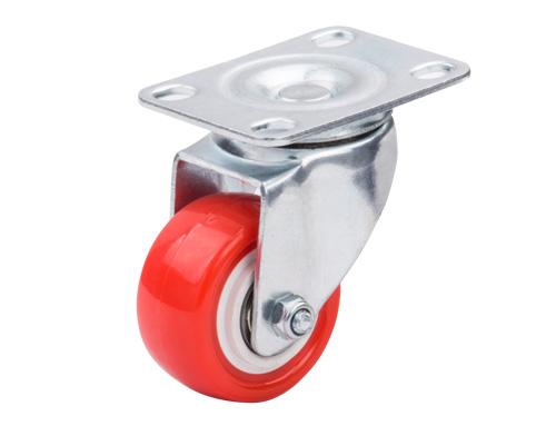 2寸红色聚氨酯万向脚轮