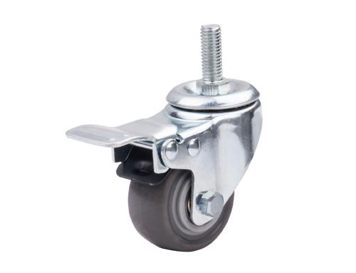 2寸丝杆型人造胶脚轮带刹车